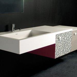 #Moab80# Decor-Top con lavabo integrato in Cristalplant+2 mobiletti lungh.132 scontato€.1.000