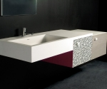 Moab80 Decor-Top con lavabo integrato in Cristalplant+2 mobiletti lungh.132 €.1.200